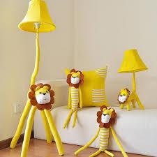 2018 high quality led yellow lion kids floor lamp cartoon decor standing lamps 110v 220v e27 fabric european lighting floor lamps led from alluring