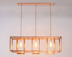 bare bulb lighting. Minimalist Rustic Farmhouse Chandelier - Copper Geometric Industrial Light Fixture Edison Bulb Bare Lighting