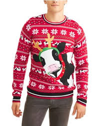 Santa Cow Men\u0027s Ugly Christmas Sweater Find the Best Savings on