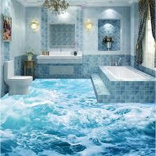 bathroom floor tile blue. 3D Bathroom Kitchen Floor Tiles Non Slip Antique Balcony Ocean Waves Tile Blue B