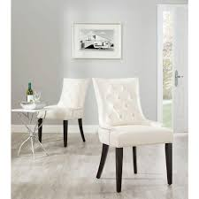 Safavieh Jappic Flat Cream Bicast Leather Side Chair Set Of - Faux leather dining room chairs