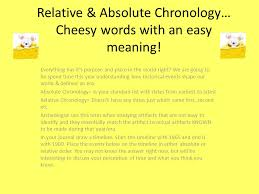 Chronology Words Relative Absolute Chronology Cheesy Words With An Easy Meaning