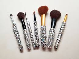 diy blinged out makeup brushes