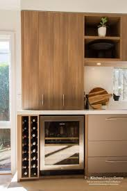 polytec Sepia Oak RAVINE kitchen storage and wine rack. http://www.