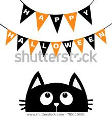 black cat face head silhouette looking up to bunting flags letters happy flag garland