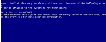 A Device Attached To The System Is Not Functioning Interesting C332e32 Directory Services Could Not Start Because Of The Following