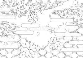 塗り絵 春 桜花 イラスト素材 3571506 無料 フォトライブラリー