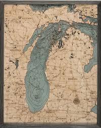 Lake Michigan 3 D Nautical Wood Chart 24 5 X 31 Driftwood Grey Frame