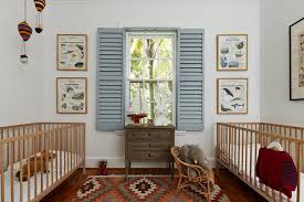 twins nursery furniture. Stunning Shabby-chicstyle Nursery Patterned Rug Features Blue Shutters Paired Wooden Cot With Twin And Twins Room Baby Cot. Furniture