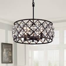 dining room 4 light crystal drum chandelier ceiling fixture oil rubbed bronze regarding with crystals decor