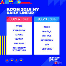 Kcon Seating Chart 2018 Kcon 2019 Ny Daily Line Up Kpop