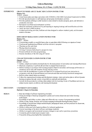 Education Instructor Resume Samples Velvet Jobs