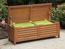 outdoor patio storage bench with cushion