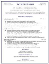 Event Coordinator Resume Recent Representation Program Sample