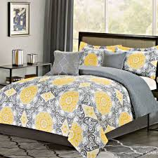 bedroom astounding gray and yellow bedding set with flower design yellow and grey bedding
