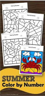 Printable easter color by letter or color by number worksheets. Free Summer Color By Number