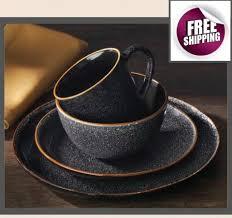 Mcleland Design 32 Pc Stoneware Dinnerware Sets Set Dinnerware 16 Pc Dishes Plate Mug Modern Dinner Service Stoneware Black New