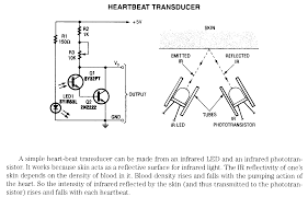 electrnoic circuit diagrams heartbeat transducer using infrared led detector