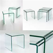 stunning clear curved glass coffee side table 600x600x420