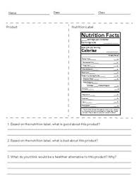 nutrition facts worksheet 2018