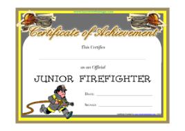 Blank Junior Firefighter Certificate Template Blank Junior