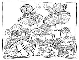 Small Picture Mushroom Coloring Page illustrated by Marie Browning