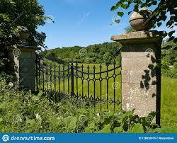 Garden Gate Landscape And Design Black Classical Wrought Iron Garden Gate Stock Image Image