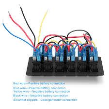 6 gang 12v 24v rocker switch panel control marine boat voltmeter boat wiring for dummies manual at 12v Switch Panel Wiring Diagram