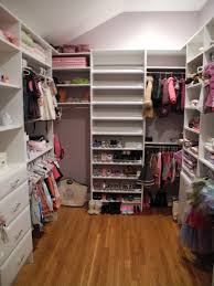 exciting white hardwood open shelves as clothes storage as well as open shoes racks in small space walk in closet design ideas