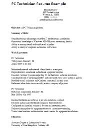 Resume Example Sample Resume For Computer Technician Resume Cover