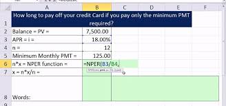 credit card payoff calculator excel how to calculate the number of periods it takes to pay off a