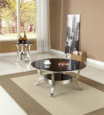 glittering round glass coffee tables with polished stainless steel very small coffee tables