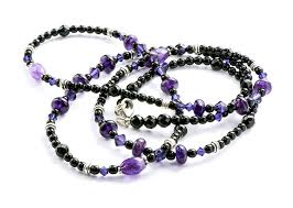 jody dole photo of jackie designs purple and black necklace on a white background