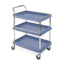 hygienic polymer deep ledge trolleys 3 shelves