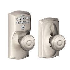 keypad front door lockSchlage Camelot Satin Nickel Keypad Entry with Flex Lock and