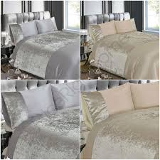 details about crushed velvet duvet cover set bedding silver natural double king size