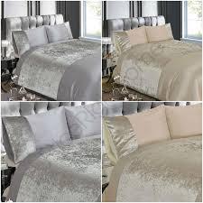 details about crushed velvet duvet cover set bedding silver natural double king size