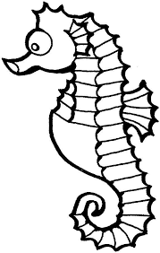 this coloring page for kids features a cute seahorse with big eyes and a curly tail