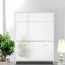 High Gloss Storage Cabinets Voilamart 16 Pair Shoes White High Gloss Storage Cabinet Cupboard