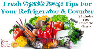 Printable Fruit And Vegetable Storage Chart Fresh Vegetable Storage Tips For Your Refrigerator Counter