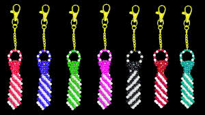 Beaded Keychain Patterns Best How To Make Crystal Beads Keychain DIY Beaded Tie Keychain
