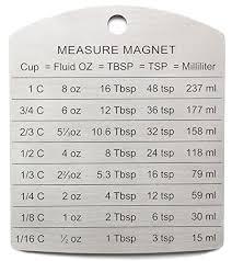 Vegetable Conversion Chart Rsvp Endurance Magnetic Measuring Conversion Chart