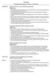 Example Of Manager Resume Mental Health Case Manager Resume Samples Velvet Jobs 27