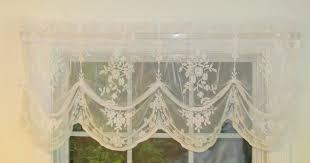 fiona scottish lace tucked balloon valance zoom white ivory