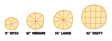 Pizza Size Chart Pizza Menu Pizza Sizes Supreme Pizza