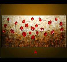 2018 hand made oil painting palette knife thick paint red flowers with oil painting ideas for