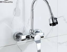wall mount kitchen sink faucet awesome wall mounted stream sprayer kitchen faucet single handle chrome photograph