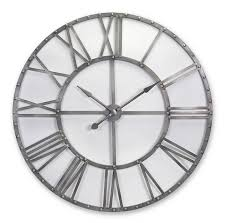 silver metal openwork roman numeral clock to enlarge