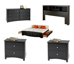 Sonoma Bedroom Furniture Prepac Sonoma 5 Pc Platform Storage Bedroom Set Black