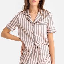 <b>Пижама</b> с шортами в полоску серый/ розовый <b>La</b> Redoute ...